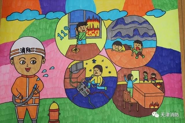 少年儿童通过作文,绘画来表达对生活中火利与害的认识,对消防安全的图片