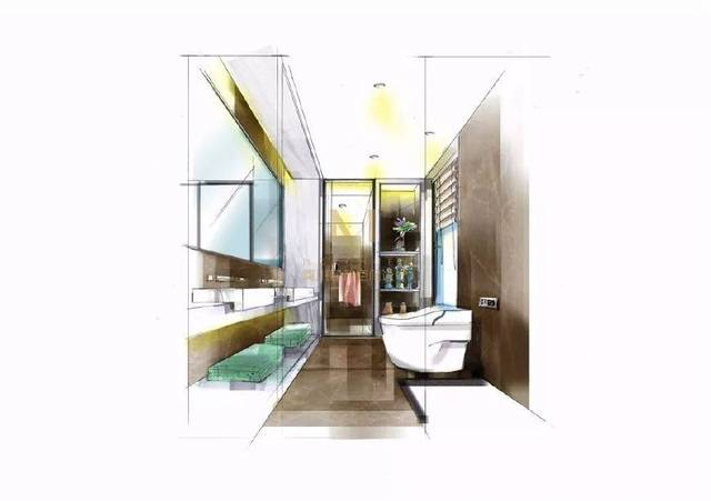 卫生间手绘效果图 东南亚风格的小饰品带来一种异域风情,爵士白