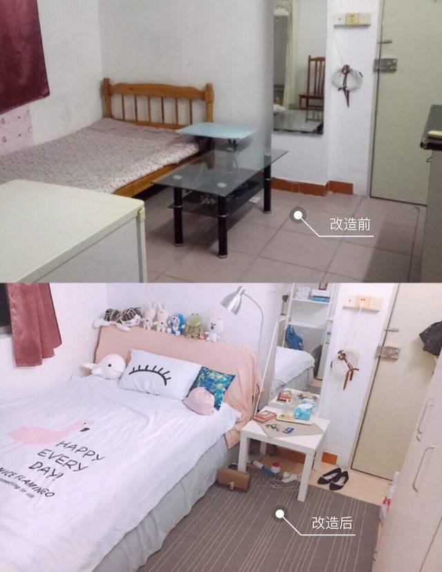 宜家:抽屉柜 毛毯:白色绒毛 ⑧ 改造费用:500元 简单的单间出租房图片