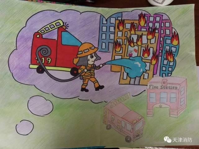 活动||天津市消防主题儿童画展获奖作品揭晓啦!一起来