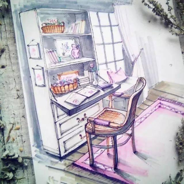 精致生活:绝美手绘室内一角!
