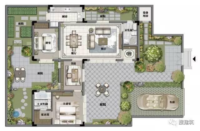 l型3层  别墅平面图