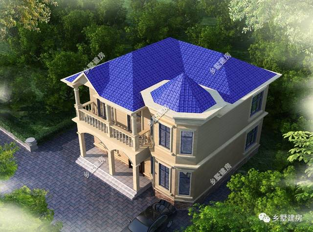 农村建房,10x10米想要旋转楼梯的两层别墅,有好的样式图片