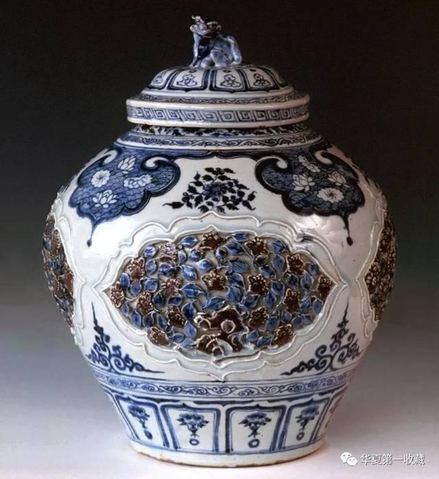 景德镇窑青花釉里红镂雕盖罐