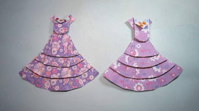 纸艺手工折纸晚礼服,简单又漂亮白雪公主的裙子折法,diy手工制作视频