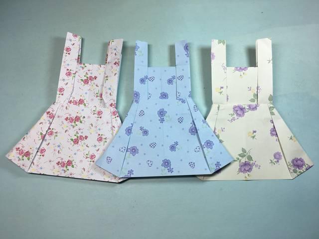 折纸大全简单又漂亮裙子,看一遍就能学会带有吊带的裙子