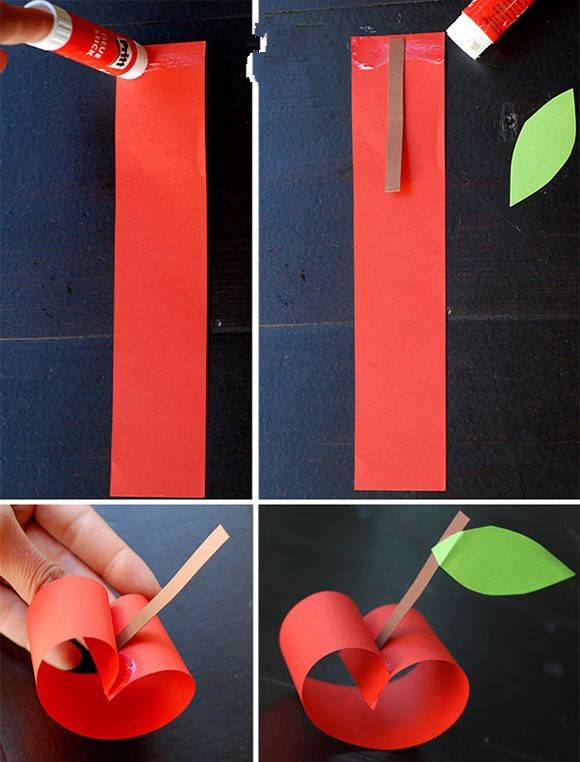 幼儿园手工 简单卡纸制作小苹果(乐美陶艺加盟馆)