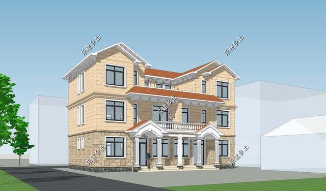 三层16x10米欧式双拼别墅设计,广东韶关杨先生项目展示图片
