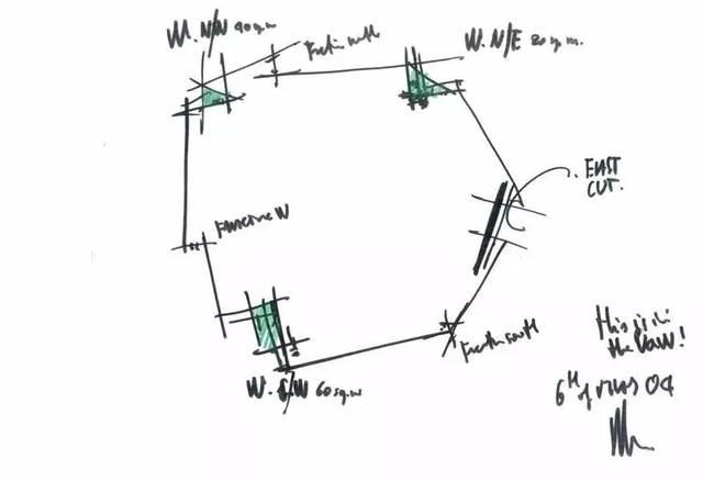 建筑师的手绘平面分析图