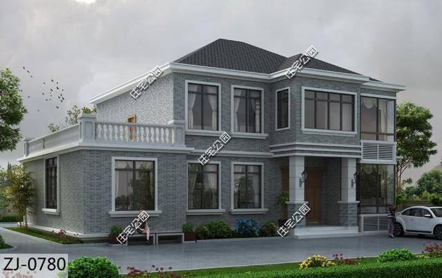 11×16米农村别墅,飘窗大露台造型典雅,见过的都默默点赞