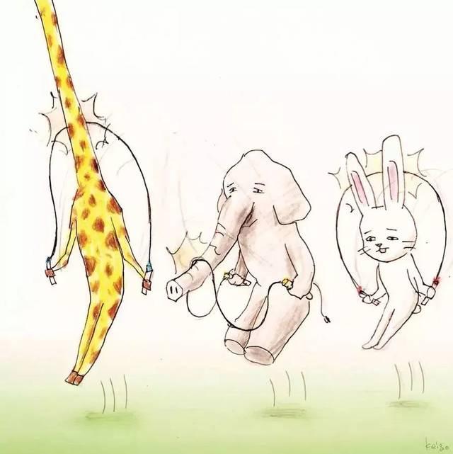 也担心长颈鹿,大象,兔子跳不了绳.图片
