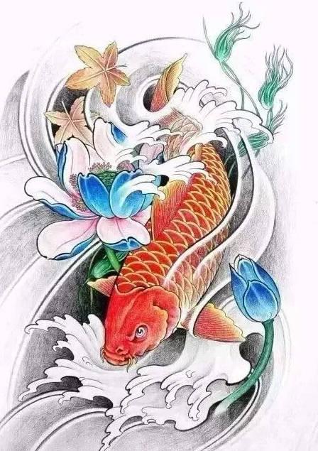 纹个鲤鱼纹身,大吉大利,如鱼得水