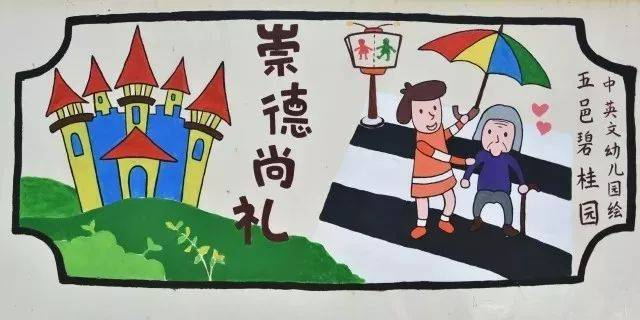 心手相牵,共建文明城市——幼儿园手绘文化墙获奖啦