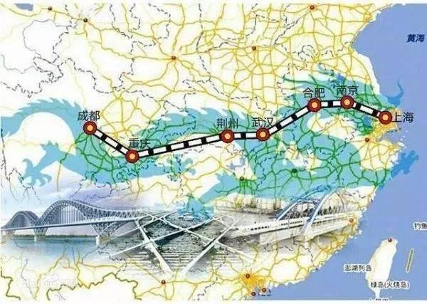 沿江高铁线路走向  目前,我国沿江快速铁路主要是沪汉蓉客专(上海到
