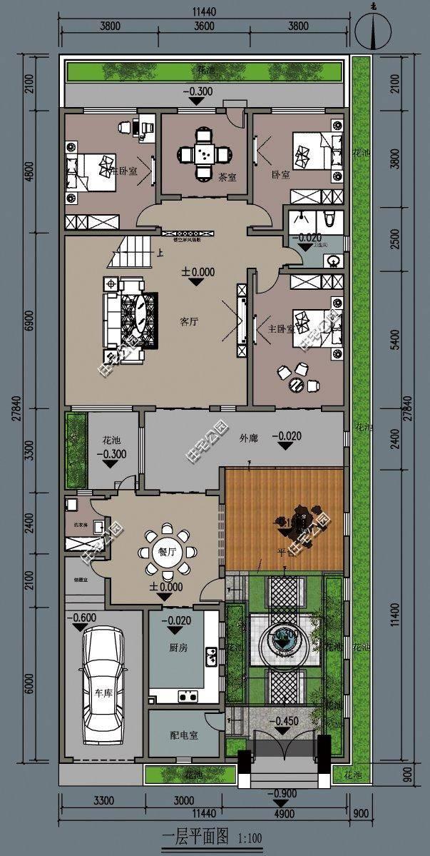 12x28米新中式农村别墅,内庭院独立厨房大露台,悠然乡村生活