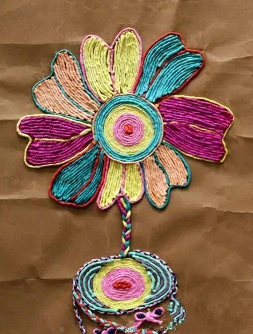 幼儿园常用皱纹纸~线绳粘贴画手工,美美哒!图片