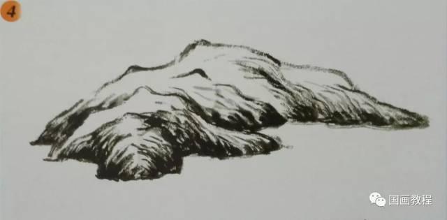 国画山水基础教程—山石墨稿画法图片