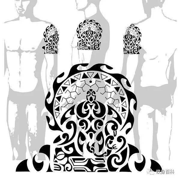 大臂上的图腾纹身手稿,效果图和展开图都有了.