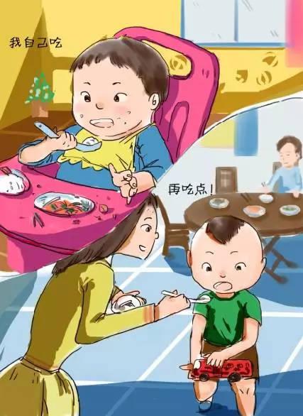 也有爸爸妈妈嫌孩子自己吃饭又脏又麻烦,看到孩子吃饭笨手笨脚的,索性