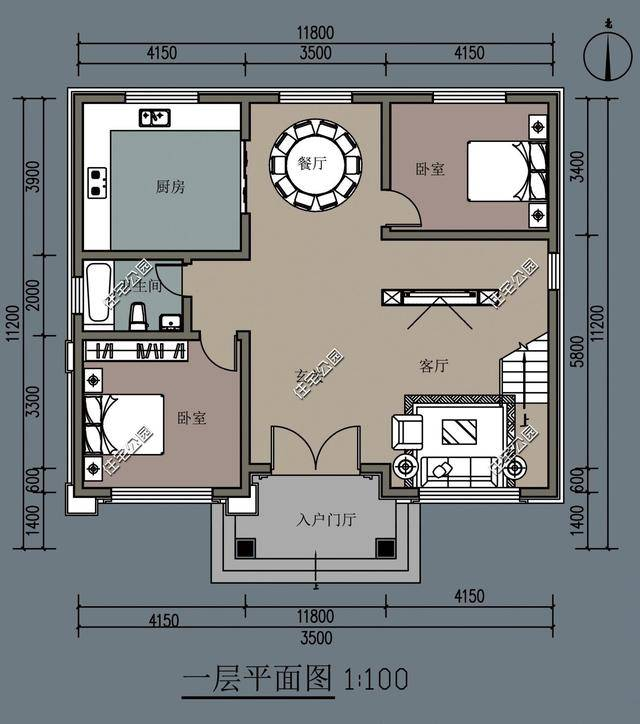 8x11.2米农村别墅,堂屋大餐厅挑空客厅,该有的一个