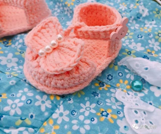 编织视频教程 | 钩针五股牛奶棉毛线男女宝宝凉鞋婴儿