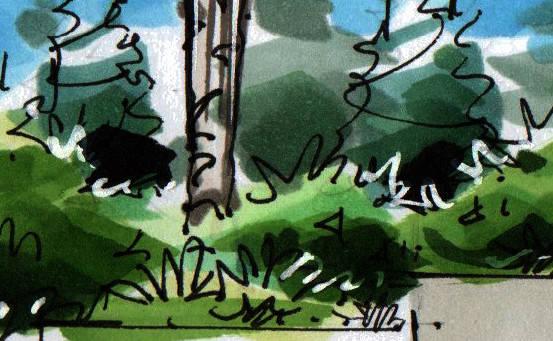 公园住宅景观手绘分析昆明手绘培训[一行手绘昆明]