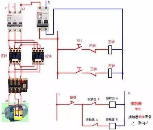 接触器控制电机正反转接线方法图解