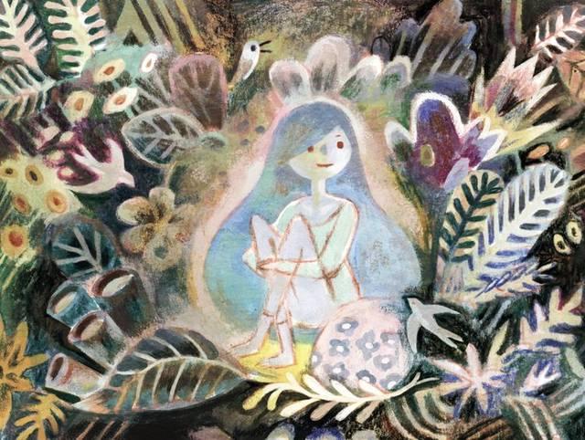 彩色铅笔,粉彩手绘,他创作的形象活泼可爱,充满童趣,用色风格对比强烈