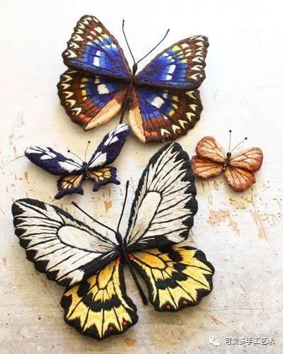 ▼ 如果需要绣出立体的蝴蝶进行单独使用,用一块厚一点的布,蝴蝶绣完