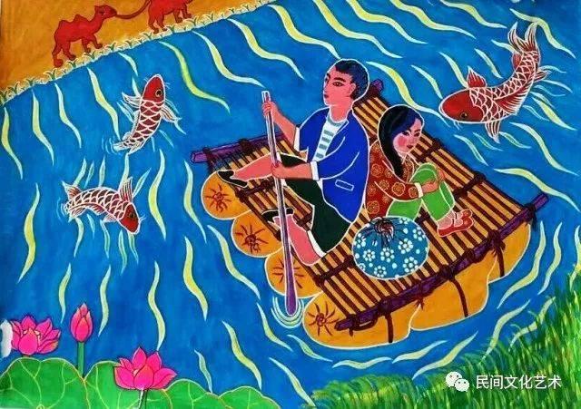 农民画运用朴素的艺术语言来释放画者心中真挚的情感,用独特的绘画图片