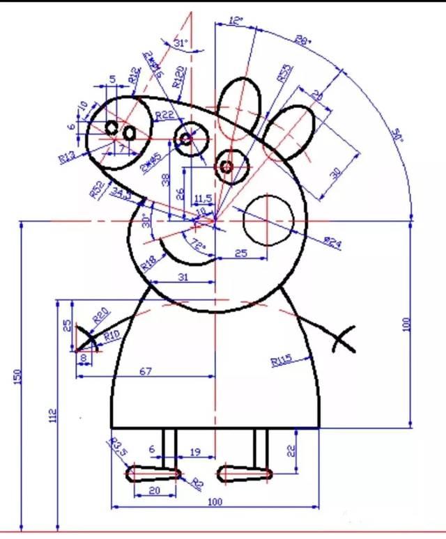 小猪佩奇cad图纸按照尺寸画吧!