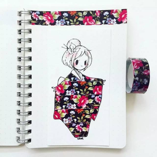 绘画与胶带相互映衬 q版人物搭上q版的服装 创意满满 她作画风格多样