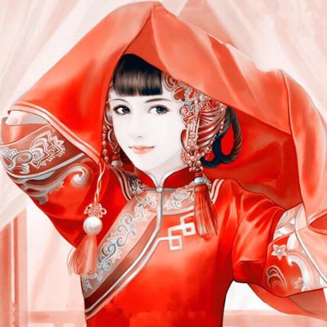 红色古风女生动漫头像高清图片素材 好看的动漫头像
