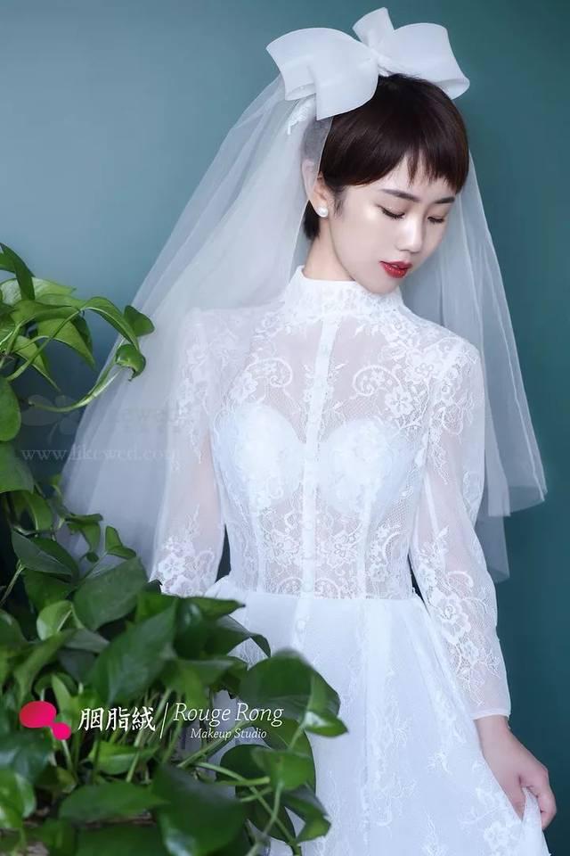 超短发新娘造型,短发新娘也可以妩媚可爱图片