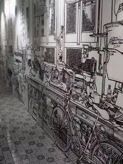 墙面黑白风景手绘