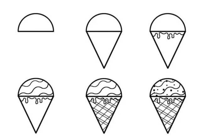 简笔画教程 | 教你怎样用三角形和半圆形,一步一步创作一幅简笔画图片