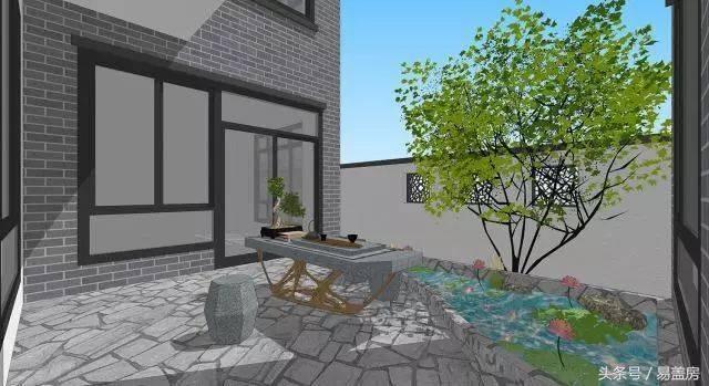 庭院效果图 东庭院院墙采用中式镂空景墙,让庭院视野外扩,避免出现图片