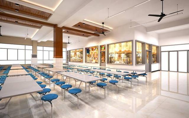 工装学校食堂室内设计表现,聊城市技师学院食堂设计案例!