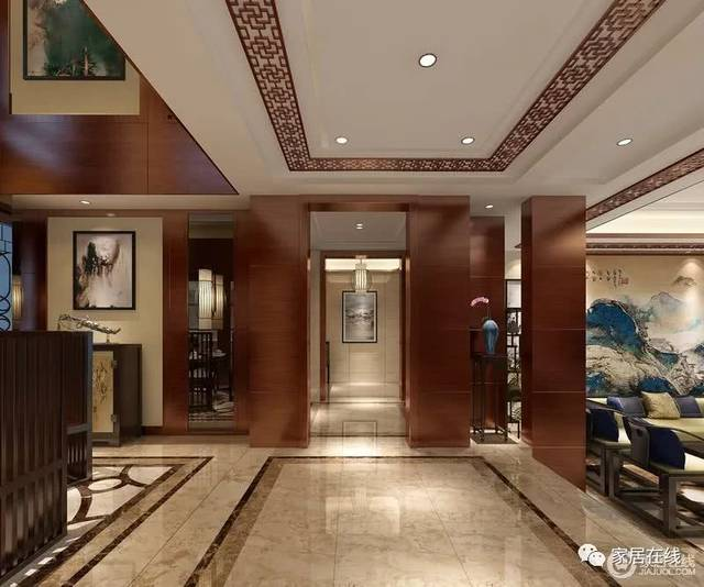 矩形玻璃吊灯与红木矩形背景墙以几何设计注入新意,让新中式家具的图片