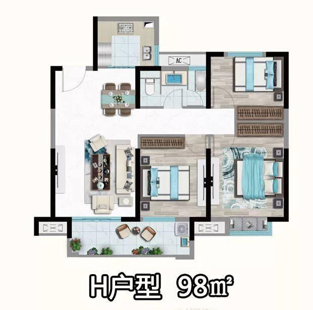 01 户型评测:三室两厅一卫设计,布局紧凑,功能规划齐全,餐客一体化