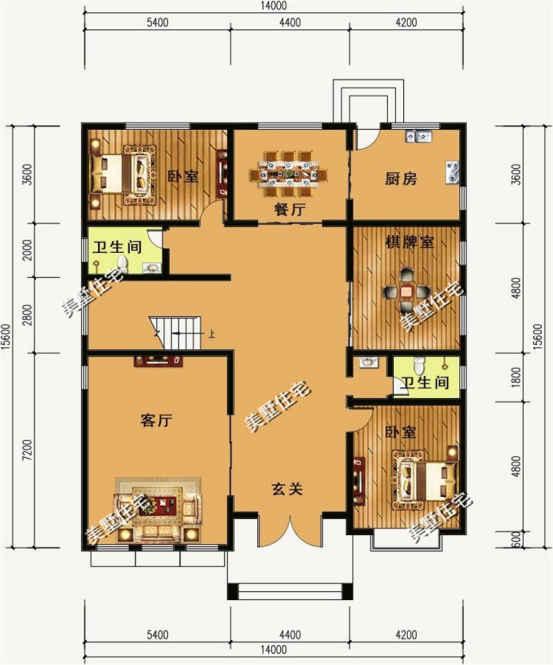一层平面图:设有玄关,客厅,厨房,餐厅,二卧室,棋牌室,卫生间