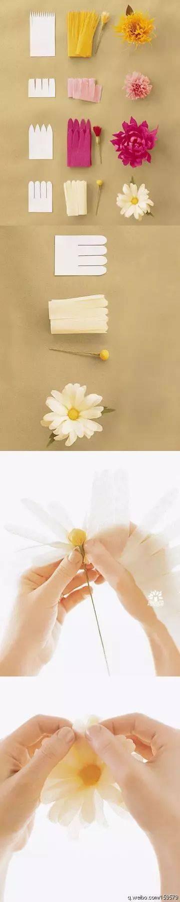 星儿为大家整理了几种皱纹纸花朵手工的做法,一起来看看吧!