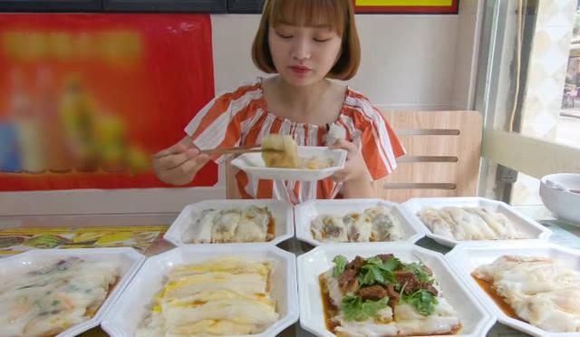 大胃王余多多今天來到一家廣式美食店,一進店就點了8盤子腸粉,吃腸粉圖片