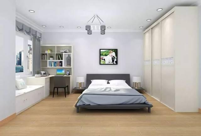 长度较短的飘窗,直接做书桌设计,收纳设计主要是书桌本身的柜子.图片