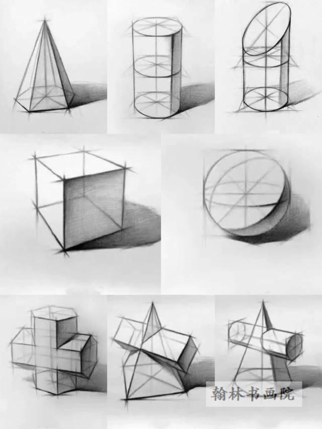 1,正方体,球体,圆柱体等8个单体线描结构练习图片