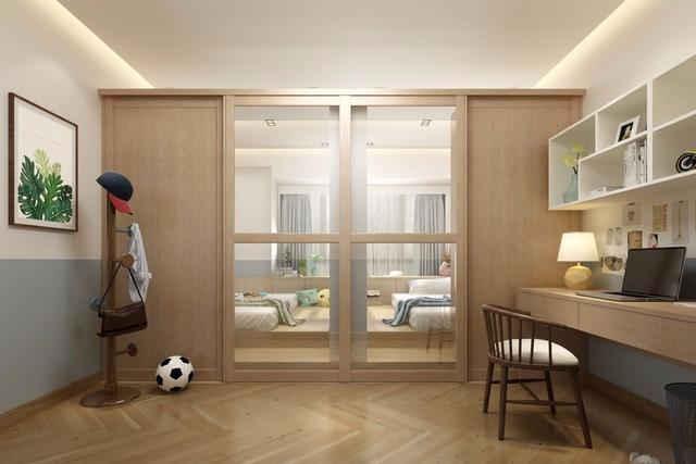 还可以设计成隔间,中间用衣柜或者储物柜做隔断,设计成独立的两个小图片