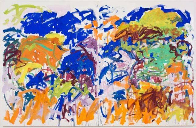 白发一雄那充满狂乱的红色和肉粉色的抽象画,与米切尔的画在展厅里图片