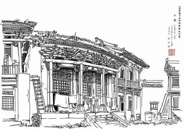 30,蔡国梁的钢笔画 画名:《一家人》 尺寸:40X62CM 创作年份:2015