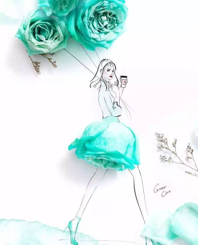 花卉礼服手绘!(新加坡插画师grace ciao的花瓣时装秀)