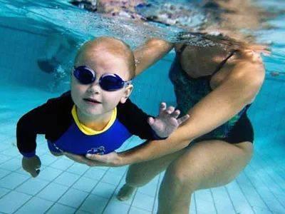 用力向后蹬夹水,两脚并拢漂一会. (2)蛙泳手臂对称划,桃型划水向侧下.